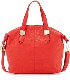 Violet Ray Convertible Faux Leather Satchel Bag, Coral