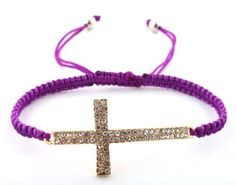 Purple Lace Style Iced Out Cross Bracelet with Beaded Disco Balls Macrame Shamballah JOTW, http://www.amazon.com/dp/B0088CAR2I/ref=cm_sw_r_pi_dp_kA-Lqb0FQWXQB