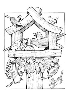 bird in winter coloring - Hľadať Googlom Animal Coloring Pages, Colouring Pages, Adult Coloring Pages, Coloring Sheets, Coloring Books, Bird Embroidery, Embroidery Patterns, Sparrow Art, Wood Burning Patterns