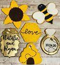Bride to Bee Bridal Shower #ctcookietreats #customcookies #bridetobee #bumblebees🐝 #sunflower #diamondring #honeycomb #babyshower Custom Cookies, Honeycomb, Sugar Cookies, Babyshower, Icing, Bridal Shower, Bee, Treats, Shower Party