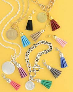 Design the trendy Necklaces And Bracelets with the silk tassel color you love. You can also choose a gold plate or silver disk to engrave with your initials!