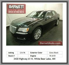 2012 Chrysler 300 C Sedan  This vehicle is loaded with ALLOY WHEELS, FOG LIGHTS, AUTO HEADLIGHTS, HEATED/VENTED/POWER FRONT SEATS, HEATED 2ND ROW SEATS, HEATED STEERING WHEEL, POWER ADJUSTABLE STEERING COLUMN, DUAL-ZONE HEAT & A/C, AUTO CLIMATE CONTROL, CD PLAYER, MP3 PLAYER, SATELLITE RADIO,