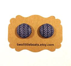 Blue Herringbone Fabric Button Earrings by TwoLittleBoats on Etsy