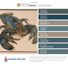 I found these colors with ColorSnap® Visualizer for iPhone by Sherwin-Williams: Still Water (SW Rainstorm (SW Elephant Ear (SW Refuge (SW Moth Wing (SW Tempe Star (SW Bunglehouse Blue (SW Riverway (SW Interior Paint, Interior Ideas, Interior And Exterior, Exterior Paint Colors, Exterior House Colors, Dinning Room Colors, Master Bedroom, Bedroom Decor, Sherwin William Paint