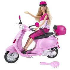 Barbie comes with her very own sporty and stylish Vespa scooter to zip around in! Dolls are posable, and include fashionably pink helmets and ensembles. Features vehicle and accessories. Barbie I, Barbie House, Barbie World, Barbie Clothes, Barbie Cars, Barbie Dream, Ag Dolls, Doll Toys, Pink Helmet