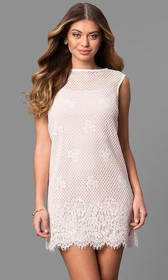 Lace Shift Party Dress with Short Scalloped Hem Formal Dresses Under 100, Cheap Formal Dresses, Cheap Cocktail Dresses, Cocktail Dress Prom, Cute Prom Dresses, Affordable Dresses, Nice Dresses, Most Beautiful Dresses, Short Mini Dress