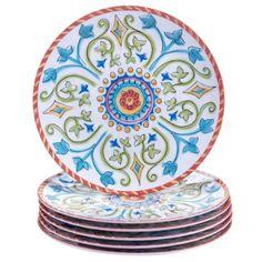 "Certified International Corp Tuscany Salad/Dessert Plates, 9"", Multicolored, Set of 6"