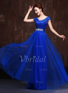 Evening Dresses - $177.39 - A-Line/Princess V-neck Floor-Length Tulle Lace Evening Dress With Appliques Lace (0175093839)