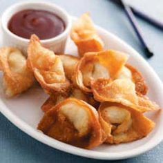 Creamy Crab Wontons. Made with crabmeat and cream cheese. Yum!