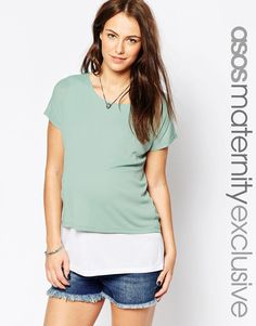 ASOS+Maternity+NURSING+T-Shirt+With+Double+Layer+In+Baby+Rib
