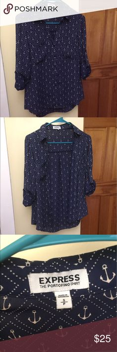 BRAND NEW‼️ Express button up This is new out of the mailbox! Never been worn. Unfortunately I like to rip off the tags when I purchase things 😂 size small, it's blue and white anchor print with rolled to sleeves and pockets near both breasts Express Tops Blouses