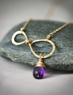 Infinity Birthstone - Simple Everyday Wire Wrapped Hammered Gold Fiilled Necklace with Purple Amethyst
