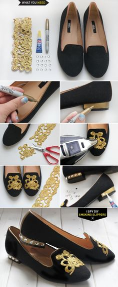 DIY Projects - SMOKING SLIPPERS....Make a pair with your wedding theme. Great for the Bridal Shower, Rehearsal Dinner, etc. If you can't do, find that person that's crafty & ask to do as a bridal or wedding gift.
