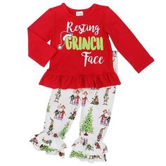 1a637e4d52b396 Toddler, Girls Winter Christmas Resting Grinch Face Ruffle Tunic Red Ruffle  Leggings Outfit by So Sydney 2T 3T 4T 5 6
