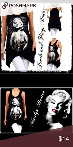 HP😍Chic Marilyn Monroe Tank Graphic, scoop neck, sleeveless, top with screen printed front, asymmetrical hem, racer back, and sequin and beaded front detailing. Top features front pockets. Tops Tank Tops