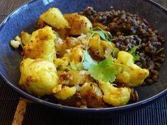 Cauliflower, potatoes and lentils