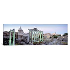 East Urban Home Panoramic Ruins of an Old Building, Rome, Italy Photographic Print on Canvas in Gray Size: