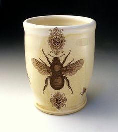 Bee Cup Tumbler by BearCreekPottery Buzz Bee, I Love Bees, Bee Skep, Bee Art, The Potter's Wheel, Bee Theme, Bee Happy, Save The Bees, Bees Knees