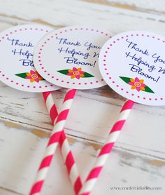 Free printable plant tags to make into garden stakes or use as tags for teacher gifts.