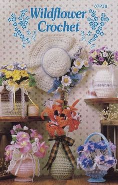Wildflower-Crochet-Annie-039-s-Pattern-Booklet-87P38-Flowers-Foliage-Vases-amp-More