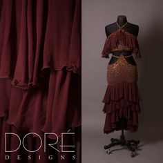 Brown latin w/ Ruffles and Layered Skirt Gold and Copper Stoning