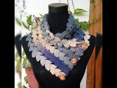 CUELLO TEJIDO EN PUNTO FANTASÍA A CROCHET - YouTube Bonnet Crochet, Crochet Poncho, Knitted Shawls, Crochet Scarves, Crochet Clothes, Easy Crochet, Crochet Stitches, Crochet Baby, Crochet Neck Warmer