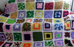 Vintage King Size Crochet Granny Square Afghan 1970s - 1980s    Hand Made Crocheted    Multi Color    White Trim    92 inches by 108 inches    I