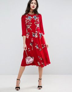 ASOS TALL PREMIUM Midi Skater Dress with Floral Embroidery