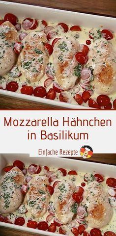 Mozzarella – Hähnchen in Basilikum Detox Recipes, Healthy Recipes, Homemade Scalloped Potatoes, Food Network Recipes, Cooking Recipes, Paleo Pizza, Mozzarella Chicken, Basil Chicken, Mozzarella Salat