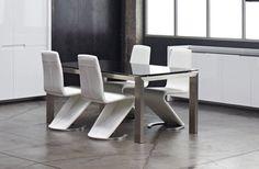 Table de salle à manger design en verre noir & rectangulaire LOFT