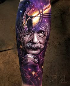 Interesting Albert Einstein portrait piece, with a space background and a clock by Arlo DiCristina