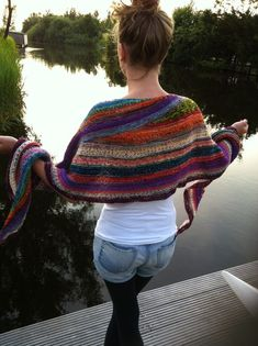 Color affection shawl made up with left over sock yarn.- Its Beautiful.