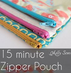 Need an idea for a quick handmade gift? You can't go wrong with a zippered pouch. They can be put to about a zillion different uses,and they're quick to make. Melissa from Melly Sew…