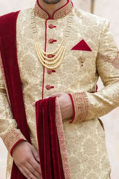 Traditional Indian jodhpuri sherwani collection online for wedding, sangeet and festive occasions. choose from latest designer shervani designs to buy sherwani online. Best Indian Wedding Dresses, Wedding Outfits For Groom, Groom Wedding Dress, Indian Weddings, Indian Dresses, Sherwani For Men Wedding, Sherwani Groom, Wedding Men, Wedding Suits