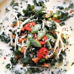 Vegetarian Asian Kale, Noodle and Coconut Broth for the Foodies100 Chinese New Year recipe challenge sponsored by Blue Dragon