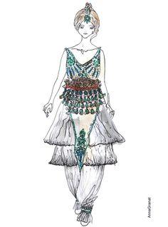 Anna Granat Illustration  Paul Poiret 1911 Costume, Ballets Russes #fashion #illustration #fashionillustration #aquarelle #ink #art #annagranat