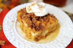 Baked Pumpkin French Toast from Our Best Bites. Uses pumpkin egg nog in lieu of milk!