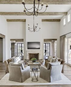 40 Rustic Farmhouse Living Room Design Ideas – Decorating Ideas - Home Decor Ideas and Tips Design Living Room, Family Room Design, Home Living Room, Taupe Living Room, Living Room Decor Elegant, High Ceiling Living Room, Modern Farmhouse Living Room Decor, Bedroom Rustic, Rustic Nursery