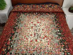 Navy Red and Green Blooming Nine Patch  Quilt Photo 1