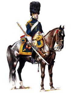 "French Grenadiers a Cheval -Napoleon's Guard cavalry unit--""big men on big horses""."