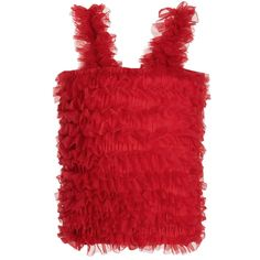 ANGEL'S FACE Bright Red Tulle Net Frilled Top