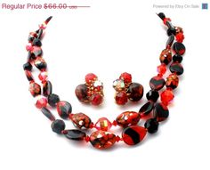 Sale Red Black Bead Millefiori Set Vintage by TheJewelryLadysStore