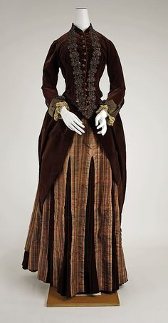 1881-1883 silk brown and plaid dress. French via The Metropolitan Museum of Art
