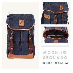 "MOCHILO SEGUNDO DARK BLUE DENIM  Rp. 275.000  FREE SHIPPING ALL OVER INDONESIA  Dimension: 31cm x 14cm x 50 cm 21 Litre 15"" Laptop Sleeve  Material: High Quality  Denim Faux Leather Accessories Leather Accessories YKK Zipper"