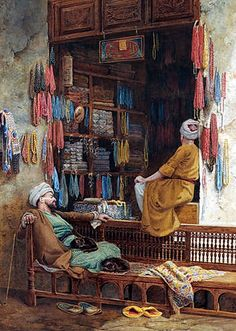 """A depression in trade , Cairo 1880 By Charles Robertson. In the and earlier, this is as little as what """"recession"""" meant and looked like. A startling change from the monster called """"recession"""" today! Empire Ottoman, Middle Eastern Art, Arabian Art, Islamic Paintings, Art Paintings, Old Egypt, Egyptian Art, Old Art, Art Plastique"""