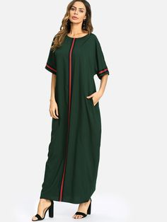 Striped Panel Longline Tunic Dress -SheIn(Sheinside) 6f2265860