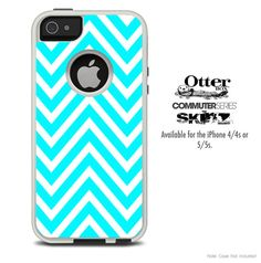 The Sharp Blue Chevron Skin For The iPhone 4-4s or 5-5s Otterbox Commuter Case on Etsy, $9.99