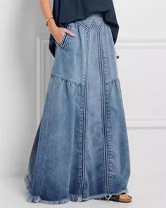 Blue Basic Plain Denim Shift Skirts Jeans Rock, Vintage Skirt, Vintage Lace, Skirt Outfits, Denim Skirt, Denim Pants, Plus Size Fashion, Anklet, Women's Bottoms