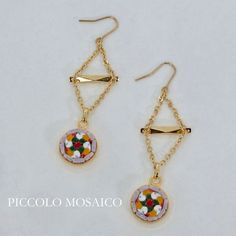 Micro mosaic dangle earrings. Glass mosaic and brass. by PiccoloMosaico on Etsy