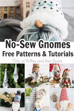 If you want to make a gnome, start with a fun and easy no-sew gnome. Click to get the free patterns for hundreds of different styles and materials - you can make one of these in less than 20-minutes! Learn from the DIY gnome lady's free tutorials and add